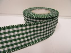 Forest, Dark Green 2 metres or full roll x 38mm Wired Florist Gingham Ribbon Double Sided check stiff edged